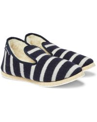 Armor Lux Shearling-lined Striped Wool Slippers - Blue