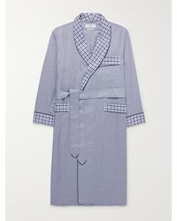 Turnbull & Asser Piped Checked Cotton-poplin Robe - Blue