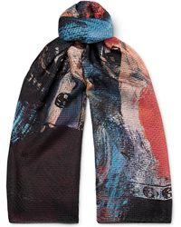 Alexander McQueen - Printed Silk-seersucker Scarf - Lyst