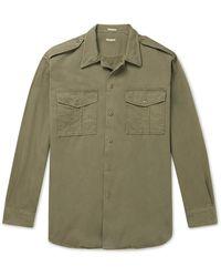 Massimo Alba Cotton-gabardine Overshirt - Green