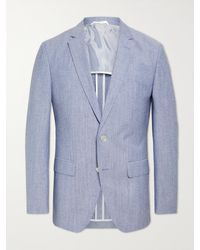 BOSS by HUGO BOSS Hartlay2 Slim-fit Mélange Cotton And Virgin Wool-blend Suit Jacket - Blue