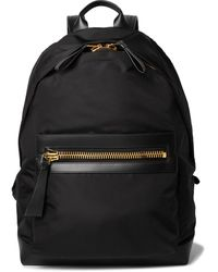 Tom Ford Large Leather-trimmed Nylon Backpack - Black