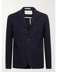 Oliver Spencer Solms Wool And Cotton-blend Jacquard Blazer - Blue