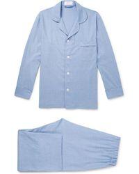 Emma Willis Cashmerello Cotton And Cashmere-blend Pajama Set - Blue