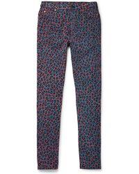 Gucci - Skinny-fit Leopard-print Stretch-denim Jeans - Lyst