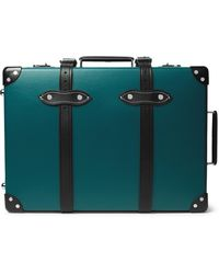 """Globe-Trotter Chelsea Garden 20"""" Leather-trimmed Carry-on Suitcase - Blue"""