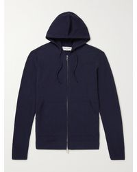 Officine Generale Brushed Merino Wool Zip-up Hoodie - Blue