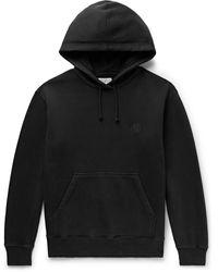 Nudie Jeans Frankie Logo-appliquéd Organic Fleece-back Cotton-jersey Hoodie - Black