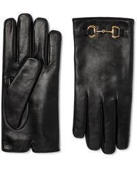 Gucci Horsebit Cashmere-lined Leather Gloves - Black