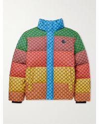 Gucci Striped Logo-jacquard Cotton-blend Canvas Down Jacket - Multicolour