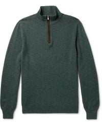 Isaia - Suede Elbow-patch Cashmere Half-zip Sweater - Lyst