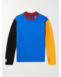 District Vision Mr Porter Health In Mind Hiei Colour-block Cotton-jersey Sweatshirt - Blue