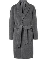 MR P. Belted Brushed Virgin Wool And Alpaca-blend Coat - Grey