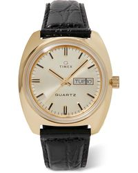 Timex Q Reissue 38mm Gold-tone And Croc-effect Leather Watch - Metallic