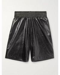 Bottega Veneta Wide-leg Leather Bermuda Shorts - Black