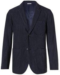 Blue Blue Japan Slim-fit Textured-cotton Suit Jacket - Blue