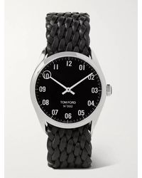Tom Ford 002 38mm Stainless Steel And Braided Leather Watch - Black