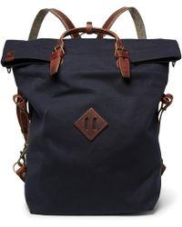 Bleu De Chauffe Convertible Leather-trimmed Canvas Backpack - Blue