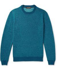 Loro Piana - Slim-fit Mélange Linen, Cashmere And Silk-blend Sweater - Lyst