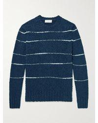 Officine Generale Marco Striped Cotton-blend Bouclé Jumper - Blue