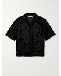 1017 ALYX 9SM Camp-collar Faux Pony Hair Shirt - Black