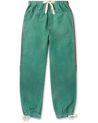 Gucci Webbing-trimmed Shell And Washed-cotton Track Trousers - Green