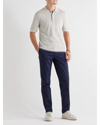 Dunhill Contrast-tipped Ribbed Mulberry Silk Polo Shirt - Multicolour