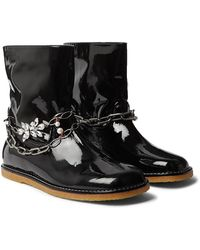 Loewe Chain-embellished Patent-leather Boots - Black
