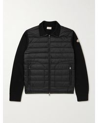 Moncler Slim-fit Panelled Knitted And Quilted Shell Down Zip-up Cardigan - Black
