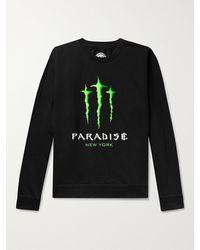 Paradise Printed Fleece-back Cotton-blend Jersey Sweatshirt - Black