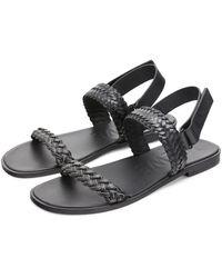Loewe Paula's Ibiza Braided Leather Sandals - Black