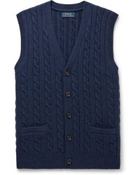Polo Ralph Lauren Slim-fit Cable-knit Wool And Cashmere-blend Jumper Vest - Blue