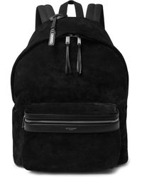 Saint Laurent - City Leather-trimmed Suede And Canvas Backpack - Lyst