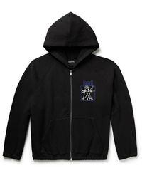 Enfants Riches Deprimes Printed Loopback Cotton-jersey Zip-up Hoodie - Black