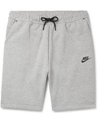 Nike Logo-print Cotton-blend Tech-fleece Drawstring Shorts - Grey