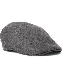 Brunello Cucinelli Wool-flannel Flat Cap - Grey