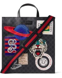 Gucci - Courrier Leather-trimmed Appliquéd Monogrammed Coated-canvas Tote Bag - Lyst