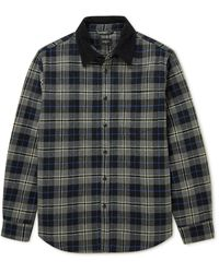 Bellerose Freeman Corduroy-trimmed Quilted Checked Cotton-blend Flannel Overshirt - Gray