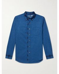 Blue Blue Japan Button-down Collar Cotton-flannel Shirt - Blue