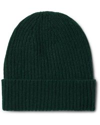 Anderson & Sheppard Ribbed Mélange Cashmere Beanie - Green