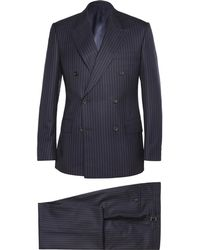 Kingsman - Navy Double-breasted Pinstriped Wool And Cashmere-blend Suit - Lyst