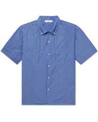 Save Khaki Button-down Collar Striped Cotton-poplin Shirt - Blue