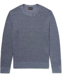 Club Monaco - Slim-fit Textured Linen And Cotton-blend Jumper - Lyst
