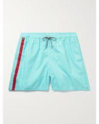 Birdwell Mid-length Striped Swim Shorts - Blue
