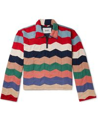 Bode Striped Quilted Twill Half-zip Polo Shirt - Multicolour