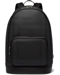 Burberry Leather-trimmed Checked Coated-canvas Backpack - Black