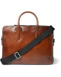 Berluti Profile Mini Scritto Leather Briefcase - Brown