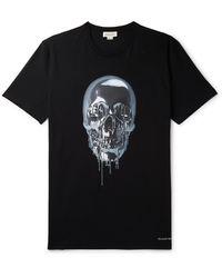 Alexander McQueen Printed Cotton-jersey T-shirt - Black