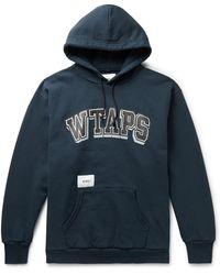 WTAPS Dawn Appliquéd Logo-print Fleece-back Cotton-blend Jersey Hoodie - Blue