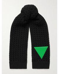 Bottega Veneta Triangle-patch Wool Cable-knit Scarf - Black
